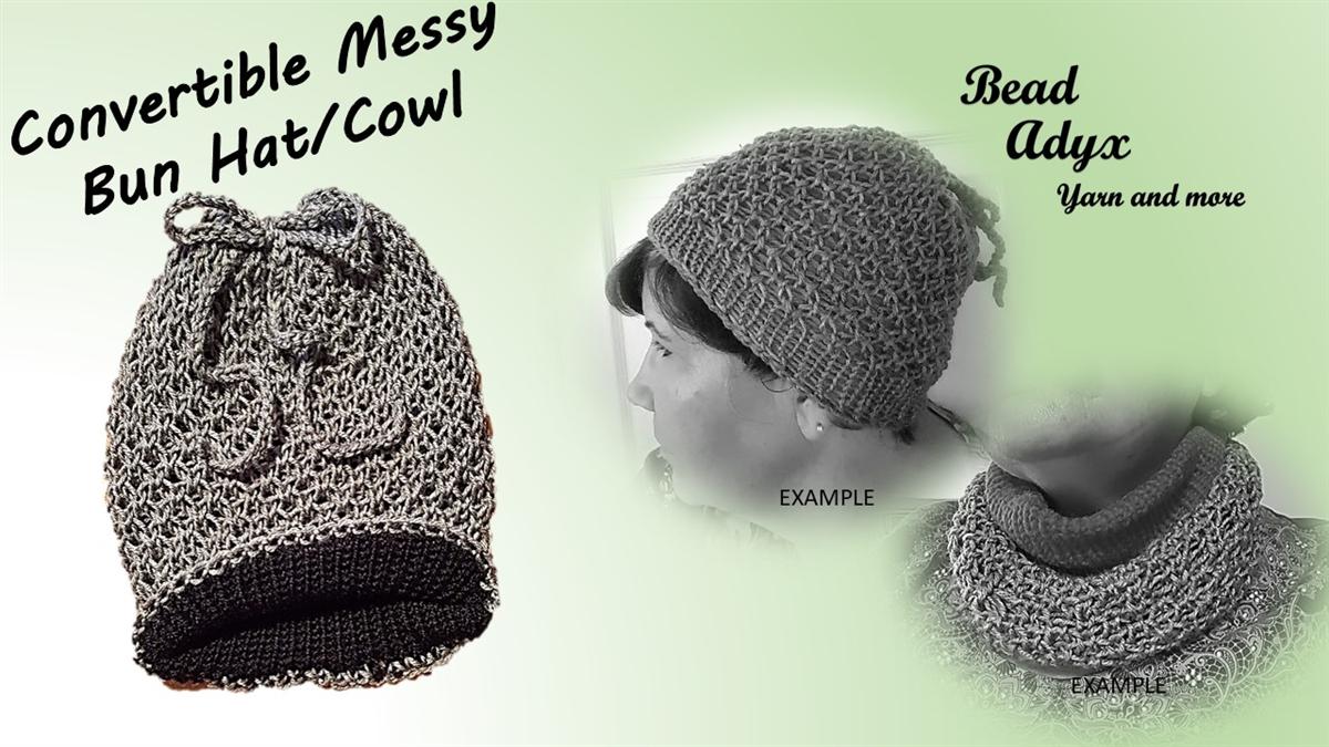 103bca3e569a2 Convertible Messy Bun Hat Cowl - Grey Black