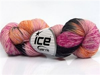 7101 Hand Dyed Sock Yarn  -  Pink Shades Orange Black