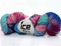 7102 Hand Dyed Sock Yarn  -  Turquoise Shades Pink Shades Blue