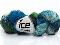 7103 Hand Dyed Sock Yarn  -  Turquoise Shades Green Shades Fuchsia Cream