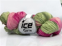 7104 Hand Dyed Sock Yarn  -  Pink Shades Green Shades
