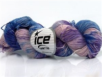 7105 Hand Dyed Sock Yarn  -  Purple Pink Lilac Blue