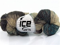 7107 Hand Dyed Sock Yarn  -  Turquoise Camel Shades Black