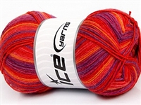 7201 Design Sock Yarn  -  Salmon Red Purple Orange
