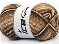 7202 Design Sock Yarn  -  Grey Cream Brown Shades