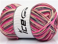 7203 Design Sock Yarn  -   Pink Grey Burgundy Beige