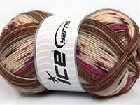 7206 Design Sock Yarn  -   Purple Grey Cream Brown