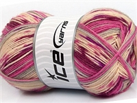 7207 Design Sock Yarn  -   Pink Maroon Grey Cream