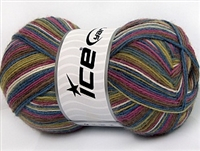 7301 Magic Sock Yarn  -   White Orchid Green Brown Blue