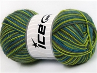 7302 Magic Sock Yarn  -   Turquoise Light Green Grey