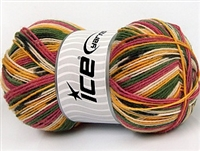 7501 Super Sock Yarn  -   Orchid Khaki Green Gold Cream