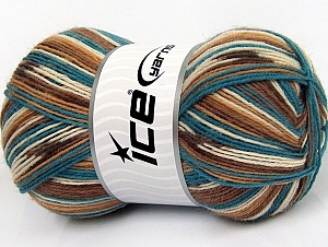 7502 Super Sock Yarn  -    Turquoise Pink Cream Brown Shades