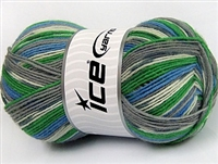 7503 Super Sock Yarn  -     White Grey Shades Green Blue