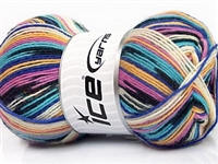 7504 Super Sock Yarn  - White Turquoise Lilac Gold Blue Black