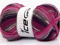 7506 Super Sock Yarn  - Pink Shades Maroon Lilac Grey Black