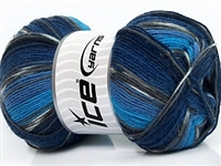 7507 Super Sock Yarn  - Turquoise Grey Blue Shades