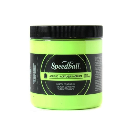 Speedball Permanent Acrylic Ink - Fluorescent Lime Green - 8 oz.