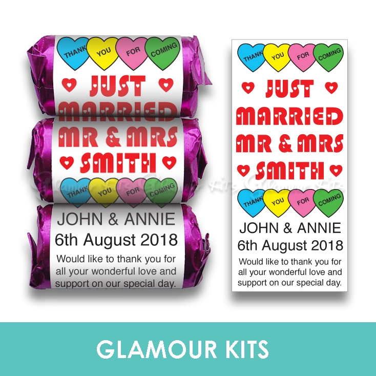 100 Personalised Mini Love Heart Sweets Mr Mrs Heart