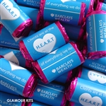 100 ROLLS PERSONALISED PROMOTIONAL MINI LOVE HEART SWEETS