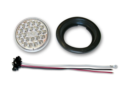 "4"" 24-LED Taillight Push-In with Pigtail & Grommet - Clear/Red"