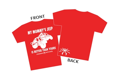 """My Mommy's Jeep"" Red T-Shirt - Youth Large"