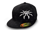 Spyder Logo FlexFit Flatbill Hat - All-Over Spyder Print - Black - Small/Medium