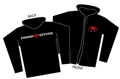 Poison Spyder Logo Black Zip-Up Hoodie - Small