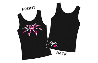 "Ladies ""Camo Spyder"" Pink on Black Tank - Small"