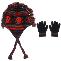 Capelli New York 2 Piece Set Skull & Bones Earflap Hat With Magic Glove
