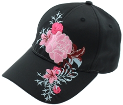 Capelli New York Ladies Baseball Hat with Floral Embroidery Detail