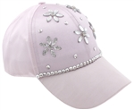 Capelli New York Ladies Baseball Hat with Floral Rhinestone Detail