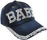 "Capelli New York Ladies Distressed Denim Baseball Hat with ""Babe"" Rhinestone Detail"