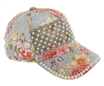 Capelli New York Ladies Large Roses Printed Twill with Lace Pearl Baseball Hat