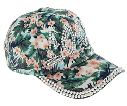 "Capelli New York Ladies Tropical Floral Print Baseball Hat with ""Love"" Bling"