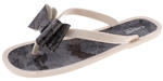 Capelli New York Ladies Opaque, Jelly, Bow Flip Flop with Lace Printed Detail