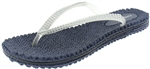 Capelli New York Ladies Transparent Jelly Flip Flops with Rhinestone Trim