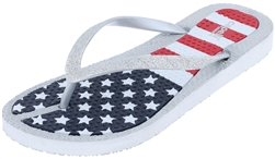 Capelli New York Ladies Fine Glitter On American Flag Printed Flip Flops