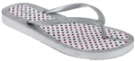 Capelli New York Ladies Fashion Flip Flops with Americana Multi Dot Print