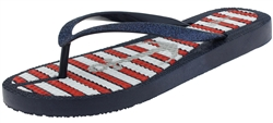 Capelli New York Ladies Fashion Flip Flops with Americana Metallic Anchor Print