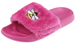 Capelli New York Ladies Queen Bee Embroidered Faux Fur Slide