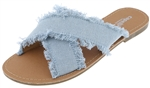 Capelli New York Ladies Fabric Frayed Cross Strap Flip Flop Slide