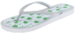 Capelli New York Ladies Glitter Flip Flops with Palm Tree Print