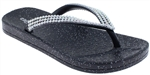 Capelli New York Girls Fashion Flip Flops with AB Rhinestones