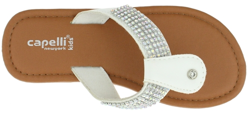 Capelli New York Girls Flip Flops Multi Color Rhinestone Straps