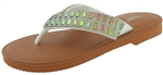 Capelli New York Girls Fashion Flip Flop Gem and Rhinestone Trim