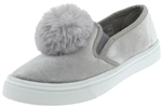 Capelli New York Girls Velvet Slip On Sneakers with Fur Pom Detail