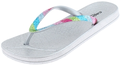 Capelli New York Girls Flip Flops with Multi Color Crunchy Glitter Trim