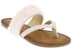 Capelli New York Girls Flip Flops with Fine Glitter and Faux Fur Trim