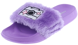 Capelli New York Girls Faux Fur Slides with Camera Smile Appliques and Embroidery