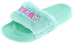 Capelli New York Girls Faux Fur Slides with I Scream Appliques and Embroidery
